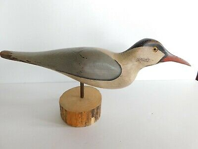 Antique Hand Carved Bird Decoy Signed Vtg Large Hunting Glass Eyes