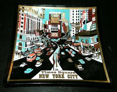 Vintage Mid Century Modern HOUZE Art Glass Black Dish Times Square New York ads