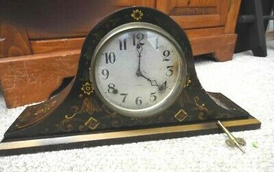antique GILBERT 1807 TOLE PAINTED WOOD MANTEL CLOCK chimes