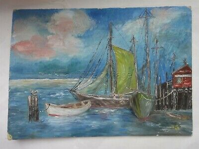 1963 vintage ORIG OIL PAINTING art SAIL BOAT DOCK SEA GULL signed A.A. maritime