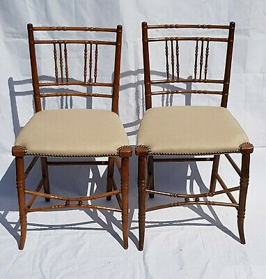 Pair of Regency Faux Bamboo Side Chairs.  c1800