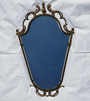 French Mid Century Hollywood Regency Bevelled Glass Decorative Shield Mirror