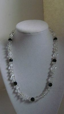 LOVELY Antique Art Deco Crystal Clear Bead Frosted Rondelle Black Glass Necklace