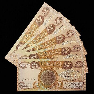 5,000 Iraqi Dinar (5) 1,000 Notes Uncirculated!! Authentic! Iqd!