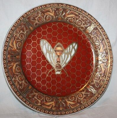Vintage Chinese?  Enameled Gold, Copper & Brown Bee Porcelain Decorative Plate
