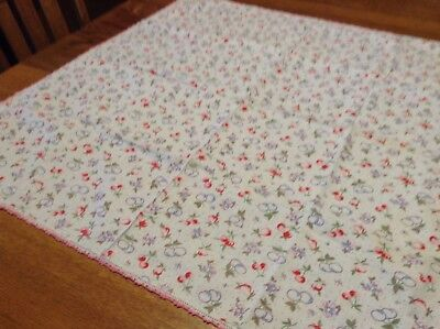 Vintage White Cotton Tablecloth With Red Cherries And blue fruit