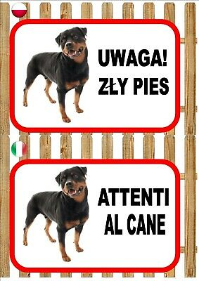 Rottweiler Beware Of The Dog sign UWAGA ZŁY PIES ATTENTI AL CANE Plaque