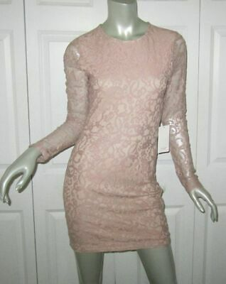 TOBI Blush Pink Lace Long Sleeve Dress Size Medium