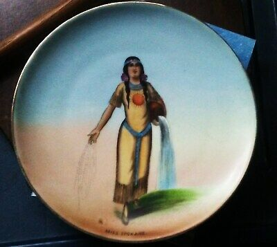 Antique Hand Painted  Plate Souvenir Of MISS SPOKANE  Indian Squaw RARE