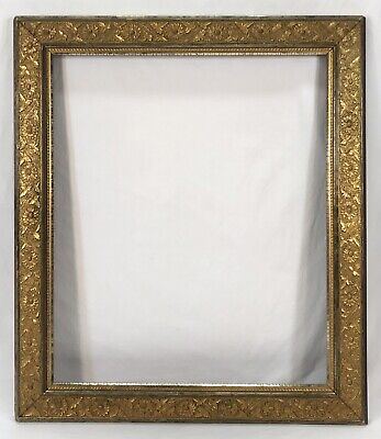 Antique Late 19th Gold & Silver Ornate Floral Frame 20 x 24 Opening