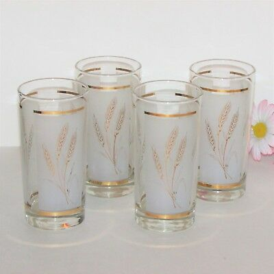 """Vintage Highball Water Glasses Set 4 Gold Wheat 5 5/8"""" Dominion Glass Of Canada"""
