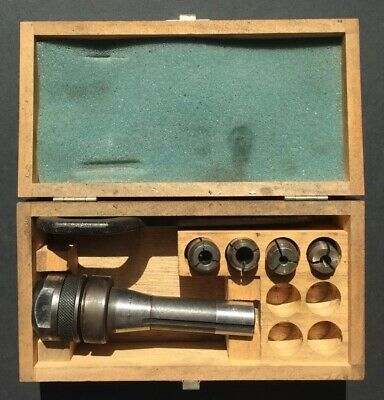 COLLET CHUCK & 4 METRIC Collets & Spanner - Used Condition In Wooden Box