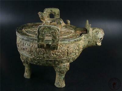 Very Large Fine Old Chinese Bronze Made Pot Vase Statue BEAST HEAD STYLE W/ COVE
