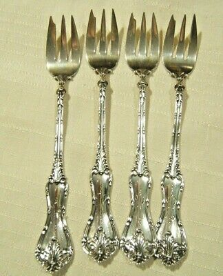 4 Antique Sterling Silver Cocktail Forks Fancy Handles & Mono