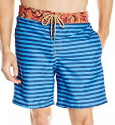 616f8a0aad NWT Mens Maaji Long Swim Trunks Board Shorts Champion Lines Blue Large L NEW