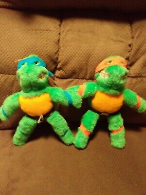 "Vintage Teenage Mutant Ninja Turtles 9"" Plush Michelangelo&Leonardo 1989"