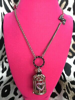 Betsey Johnson Vintage Vampire Slayer Black Raven Bird Cage Long Necklace RARE