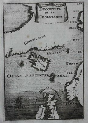 Original antique map GREENLAND, ICELAND, NORWAY, BRITISH ISLES, Mallet, 1683