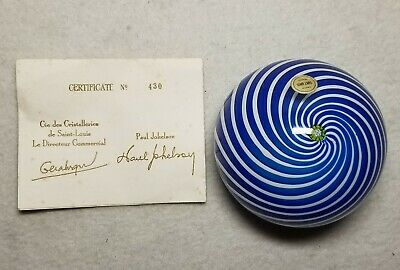 Beautiful L.E. 1971 St Louis Blue & White Swirl Paperweight   With Jokelson COA