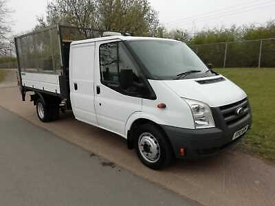 Ford Transit T350L Crew Cab Tipper With Cage And Tail Lift, 67K Miles Ex Council