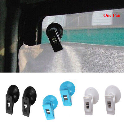 2 x Car Window Suction Cup Mount Auto Bill Clips Hook Card Clamp