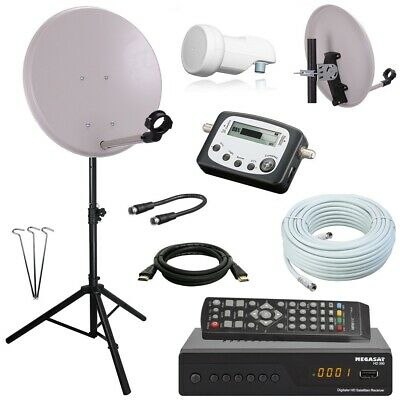Camping SAT Anlage mit HD RECEIVER und SATIV +SAT Finder HD single LNB 10m Kabel
