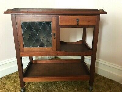Vintage timber auto tray/ drinks trolley. Leadlight door. Pick-up from Geelong.