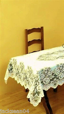 "Superb Cream Heavy Lace Table Cloth 32"" Square Fil"