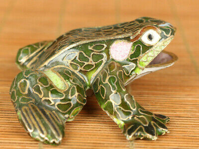 Antique old cloisonne hand painting frog statue figure home table decoration