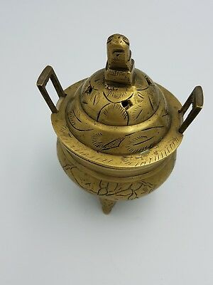 "Antique Chinese Solid Brass 4.5"" Lidded 3Foot Incense Bowl Incense Burner Marked"