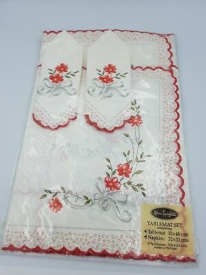 Vintage Helena Springfield 4 Napkin & 4 Table Mat 8Pc Set Red Floral- Bnip