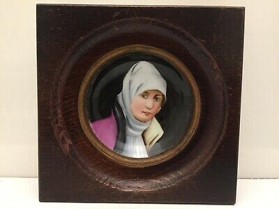 Antique Miniature Hand Painting Porcelain Plaque Of Middle Eastern Islamic Girl