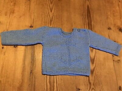 Vintage Hand Knitted Baby Jumper 6-9 Month Anchor Blue Shoulder Button Small