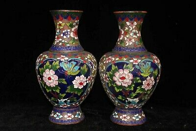 wonderful Brass Cloisonne Carve pair Blooming flower bottle Noble Decor big Vase