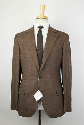 NWT BRUNELLO CUCINELLI Brown Wool Blend 3 Roll 2 Button Suit Size 50/40 R $4095