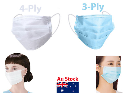 Face Mask Surgical Dental Ear Loop Dust Filter  4-Ply-White | 3-Ply-Blue
