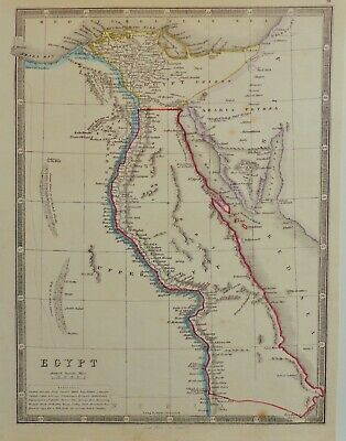 Rare Map Of Egypt By George Philip 1850 In Vg Condition