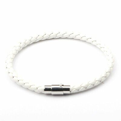 Fashion Men Braided Leather Punk Bracelet Stainless Steel Magnetic Clasp Unisex
