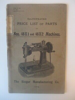 Rare 1904 46K1 and 46K2 Sewing machine Parts Price list