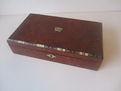 Antique walnut playing cards games box with diverse inlay