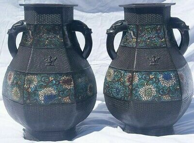 Pair of large antique signed Japanese / Meiji Cloisonné Vases, 19th Century