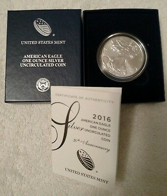 2016-W Uncirculated American Silver Eagle 30th Anniversary Silver Dollar w/ COA