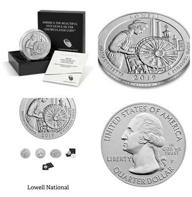 Lowell National Historical Park 2019 Uncirculated Five Ounce Silver Coin