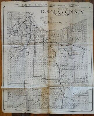 Large 1938 Douglas County Highway Department Map Superior WI Wisconsin