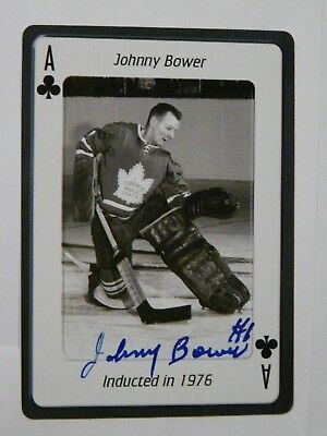 Johnny Bower Toronto Maple Leafs Hockey HOF Autographed Card  Ace of Clubs