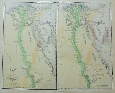Rare Map Of Egypt 1851 By Gall & Inglis In Vg Condition