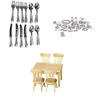 Kitchen Decoration Mini Tableware Set and Furniture for 1/12 Dollhouse