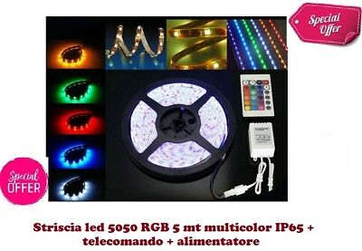 Striscia Led 5050 Rgb Multicolor 5Mt + Alimentatore + Telecomando Kit Completo