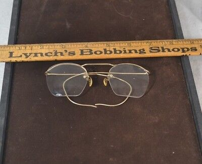 antique eyeglasses  rimless  12k gf flexible bows 1940  original vg