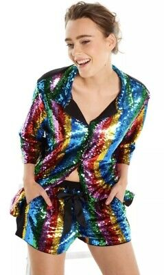Peter Alexander Ladies Rainbow Sequin Tuxedo Shirt & Short,Size:xs,Rrp:au$249.90